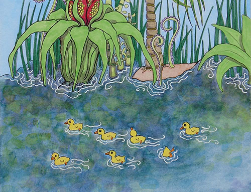 Left hand page of Eight Fuzzy Ducklings spread (from Bad Day for Baby Duck)